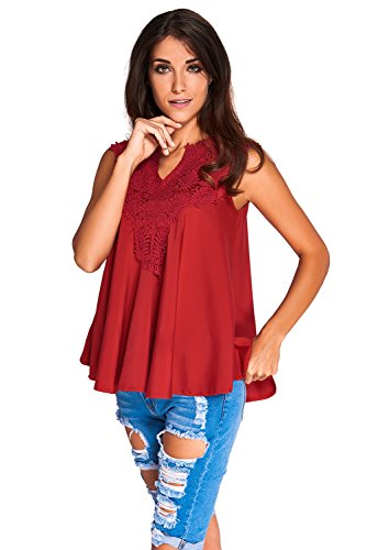 KaleaBoutique Women Wine Red Embroidered Sleeveless Tank Baby Doll Solid Blouse Tee Shirt Top, Red ()