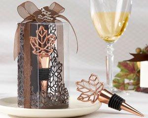 ''Lustrous Leaf'' Copper-Finish Bottle Stopper in Laser-Cut Leaf Gift Box - Set of 50