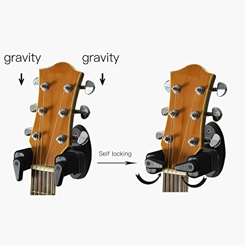 amazoncom cantus guitar wall mount hanger hook with automatic lock for electric acoustic guitars bass musical instruments