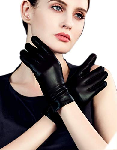 7ad095174 YISEVEN Women's Touchscreen Lambskin Dress Leather Gloves Flat Design  Button Cuff Wool Lined Luxury Stylish Elegant