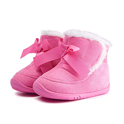 Baby Girl Boots Snow Winter Infant Shoes Bowknot Warm Soft Sole Anti-Slip Prewalker 6-24 Months Pink