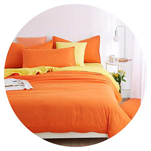 Lake Blue Striped Bed Sheet Duver Quilt Cover Pillowcase Soft Silver Gray King Queen Full Twin,Orange,Full Cover 150by200