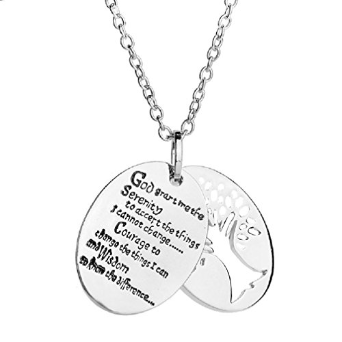 (Two Piece Serenity Prayer Pendant Necklace With Tree Of Life Necklace)
