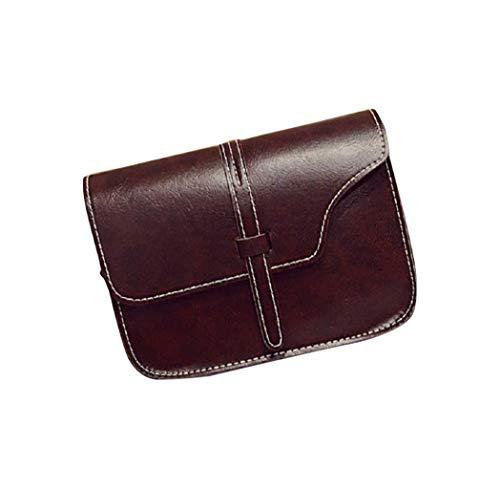 Kanpola Women Girl Shoulder Bag Faux Leather Satchel Crossbody Tote Handbag Pink Coffee