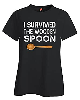 I Survived The Wooden Spoon Funny Wooden Spoon Survivor Gift - Ladies T Shirt