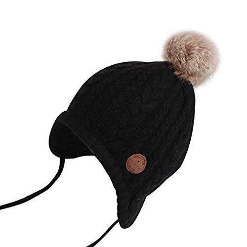(Moonper Toddler Baby Boy Girl Winter Warm Cute Bear Ear Flap Beanie Knit Crochet Hat Cap 3M - 2 Years (L, Black))