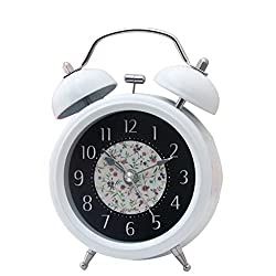 Homyl Classical Retro Twin Bell Mute Silent Quartz Movement Non Ticking Bedside Desk Analog Alarm Clock with Nightlight for Bedroom - White, as described