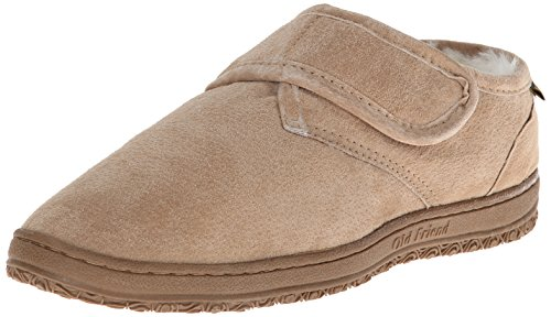 Old Friend Men's Adjustable Strap Bootee Slipper,Chestnut,9 (Friends Booties)