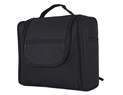 RW Collections Hanging Toiletry Bag for Women & Men, Cosmetic Purse Travel Makeup Organizer, Shaving Kit, Gadget Case, Medical Supplies Storage - For Hotel, Home, College Dorm, Airplane (XL Black)