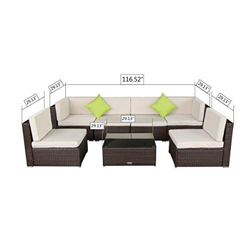 AECOJOY 7 Piece Outdoor Patio PE Rattan Wicker Sofa Cushioned Sectional Furniture Set (7 Pieces, Brown) by AECOJOY (Image #2)