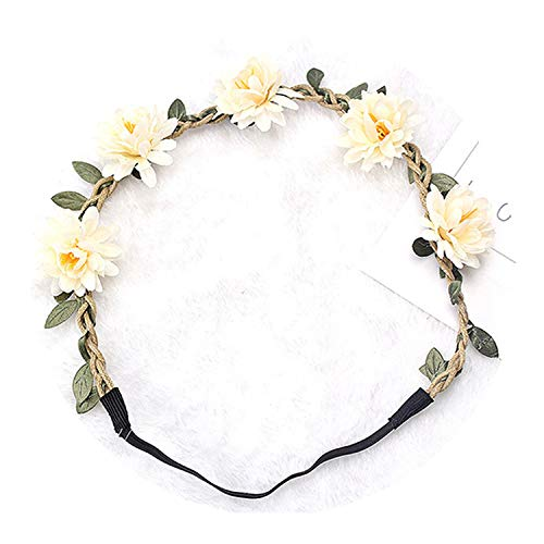 Girls Flower Wreath Garland Vine Chrysanthemum Elastic Rubber Hair Bands Bohemia Crown Headwear,Garland