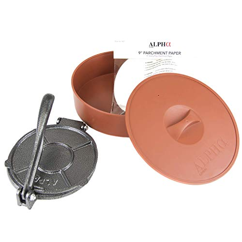 Alpha Living 1 x Tortilla Warmer 10 in and 1 x Tortilla Press Cast Iron 7.5 in - 50 x Parchment Paper Microwavable and Insulated 10 Inch - Heavy Duty ()