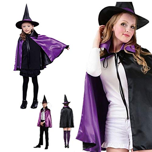 Forart Women & Kids Halloween Cloak with Hat Reversible Witch Wizard Christmas Party Robe Cosplay Costume Cape