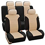 FH GROUP FH-FB065115 Classic Khaki Full Set Car Seat Covers, Airbag compatible and Split Bench, Beige /Black Color- Fit Most Car, Truck, Suv, or Van
