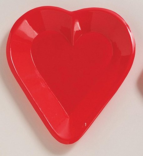Heart Mini Snack Tray - Club Pack of 24 Red Heart Disposable Plastic Card Night Party Mini Snack Trays 6