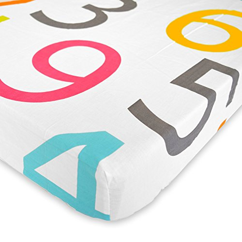 Colorful Numbers 1 to 9 - Cotton Polyester Fitted Crib Sheet - Soft Nursery Bedding for Boys / Girls - TOP QUALITY Infant & Toddler Bed Sheets for Christmas and Baby Shower Gift by Cuddly Cubs (Elmo Sheets Toddler)