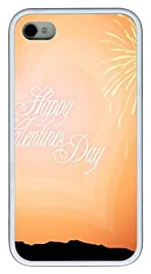 Happy Valentines Day TPU White Case for iphone 4S/4