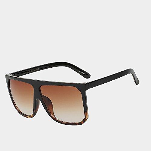 claro de Vintage TIANLIANG04 Style de parte de unas Las bastidor de enormes hembra leopard W superior sol sol Black UV400 con gafas brown cuadrados grande plana Gafas gafas mujeres negro Gafas p6q1n6