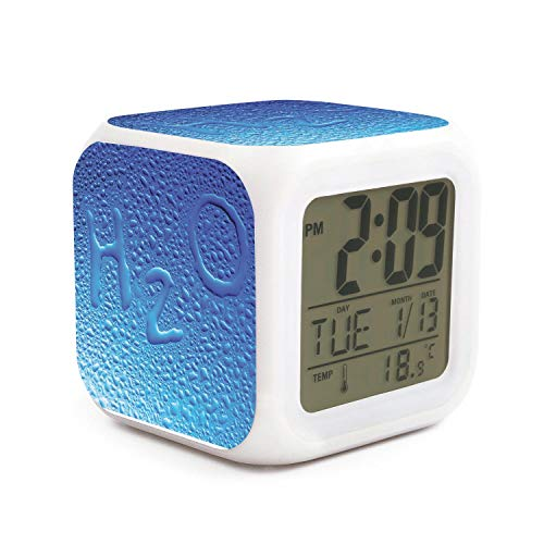 Projection Bead Glass Screen (HONGMING Beads of Water On Glass H2O LED Alarm Clock 7 Colors Desk Gadget Alarm Digital Thermometer Night Cube Bright Home Decor)
