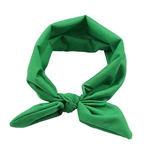 - Sunward Women Yoga Elastic Rabbit Bow Hairband Turban Knotted Hair Band Headband (Green)