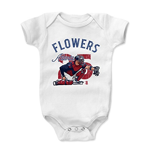 - 500 LEVEL Tyler Flowers Baby Clothes, Onesie, Creeper, Bodysuit 3-6 Months White - Atlanta Baseball Baby Clothes - Tyler Flowers Arch B