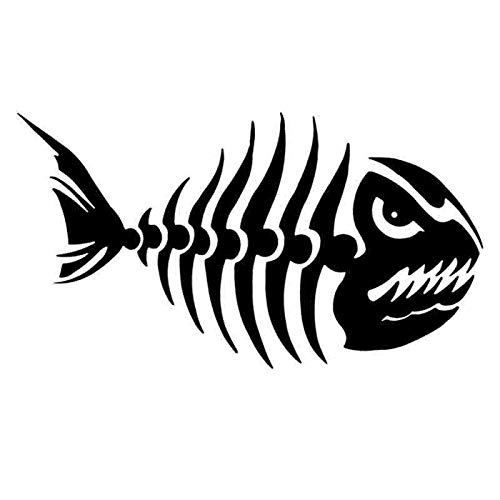 58x103cm   Face Right Pegatina Go Fishing Hunter Car Boat Sticker Fish Skeleton Decal Posters Wall Decals Decor Mural Fisher Sticker  (color Name , Size  58x103cm, Style  Face Right)