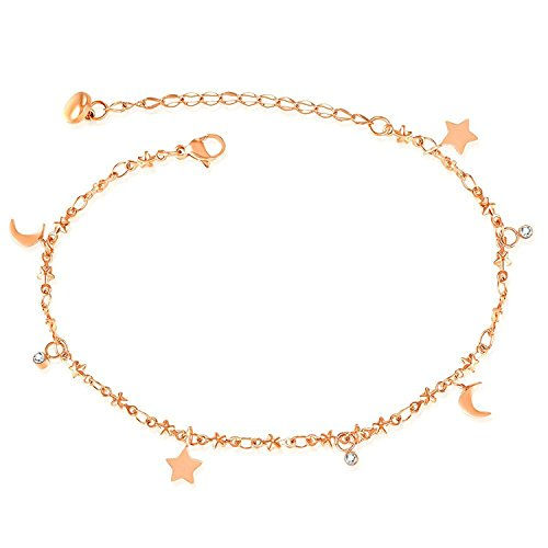 Mmiiss Little Star and Moon Chain Anklet Bracelet for Women,Barefoot Sandal Beach Foot Jewelry Rose ()