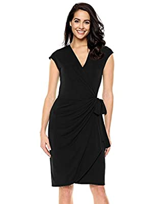 GloryStar Women's Casual V Neck Short Sleeve Tie-Belt Midi Wrap Drape Dress