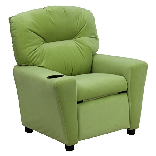 Solid Avocado ContemporaryFurniture Kids Recliner with Cup Holder