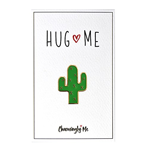 CharminglyMe Hug Me Cactus Enamel Pin - Cactus Accessories, Funny Gifts for Women, Friendship Gifts for Women, Boyfriend Gifts