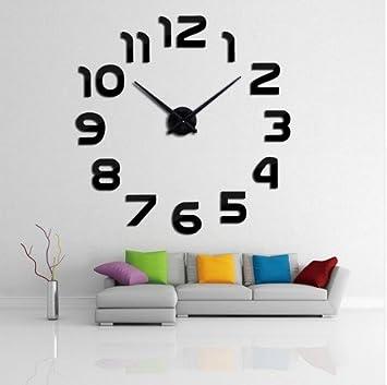 e11761ac5b250e Yosoo DIY 3D Horloge Murale Design Géante Grande Taille Moderne Rondepour  Décoration Salon Bureau - Style