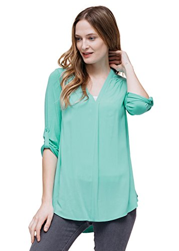 Pleione Womens V-Neck Pleated Shoulder Solid Blouse with 3/4 Button Tab Sleeve
