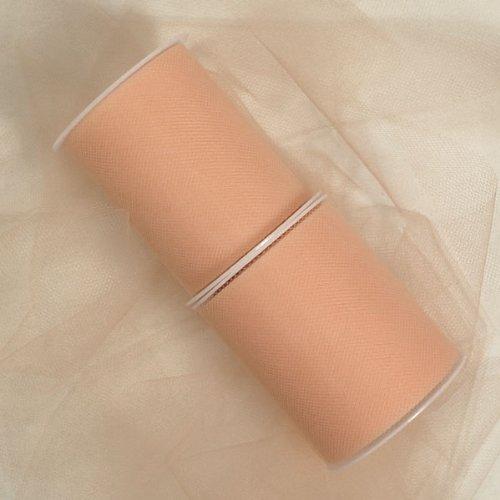 Premium Colored Tulle - Nylon Tulle Ribbon (6 inches, peach) - 25 yards by Premium Colored Tulle INC.   B016Z3905Q