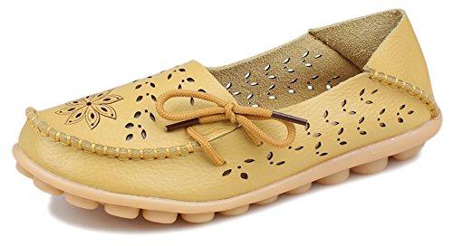 Mode Femme En Cuir Phifa Flats Mocassins Creux Glissent Sur Les Chaussures Jaunes