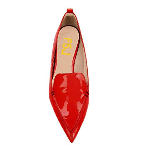 Fsj Women Fashion Scarpe A Punta Tacco Basso Mocassini Casual Slip On Summer Shoes Taglia 4-15 Us Red-patent