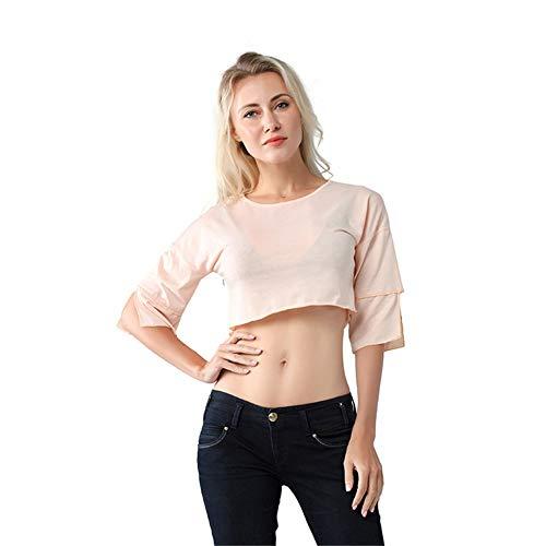 Plus Sijux Con Estivi In T Abiti Pullover Size pink m A Manica Cotone shirt Da Donna Corta Casual SSrq7