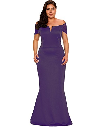 Lalagen Women's Plus Size Off Shoulder Long Formal Party Dress Evening Gown Purple XXXL by Lalagen