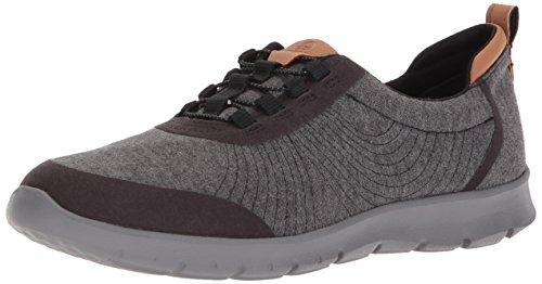 CLARKS Women's Step AllenaBay Sneaker, Black Heathered Fabric, 7.5 W US