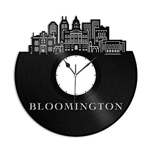VinylShopUS - Bloomington in Vinyl Wall Clock City Skyline Best Gift for Men Women Friends Office and Bedroom | Home Decoration -