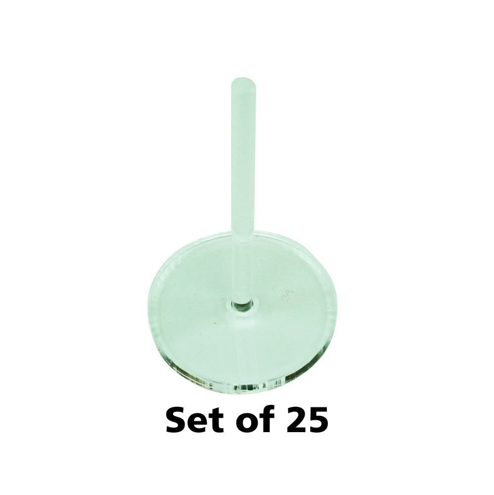 Acrylic Flight Stands, 25mm Circle, 3mm Clear, 1.5 inch Peg (25)