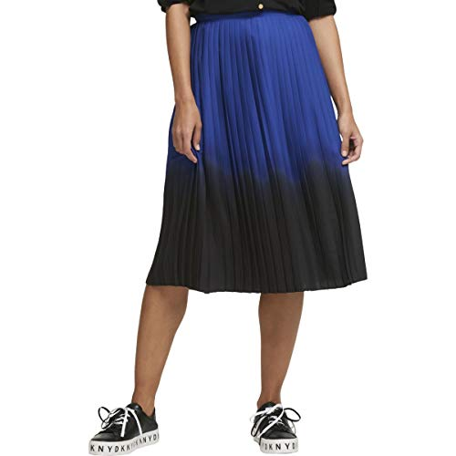 - DKNY Womens Pleated Ombre Midi Skirt Navy 10