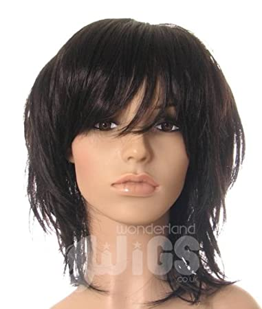 Amazon Com Dark Brown Nearly Black Shoulder Length Wig Choppy Layered Razor Cut Face Frame Wigs Wigs For Women Beauty