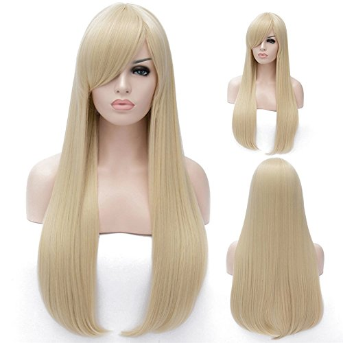 [TopWigy Women's Long Straight Hair Wig Smooth Silk Hair Heat Resistant with Bangs Cosplay Costume Wig+Wig Cap (Light Gold) 30