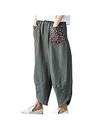 YM YOUMU Women Harem Pants Cotton Linen Casual Wide Leg Baggy Loose Ninth Trousers