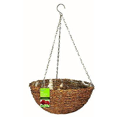 "Gardman R450 Rustic Rattan Hanging Basket, 14"" Diameter: Home & Kitchen"