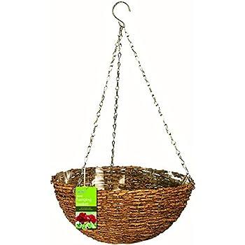 """Gardman R450 Rustic Rattan Hanging Basket, 14"""" Diameter"""