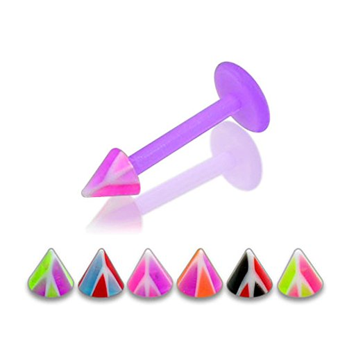 16gx1-4-12x6mm-bioflex-lip-labret-with-3mm-uv-multi-colored-basketball-cone-piercing-jewelry-10-piec