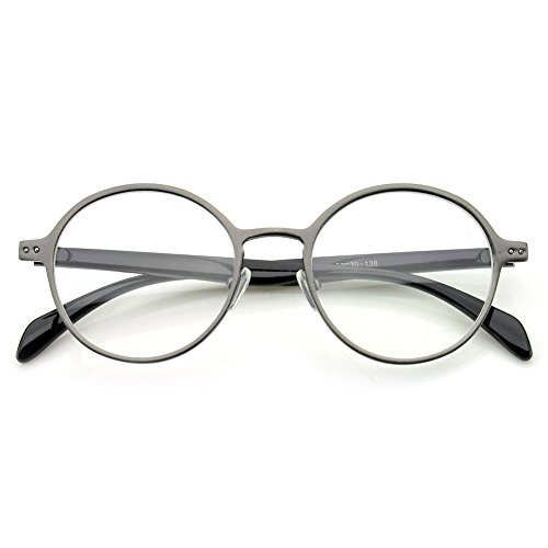 2536e5b3a3c PenSee Oval Round Circle Eye Glasses Large Oversized Metal Frame Clear Lens  - Buy Online in UAE.
