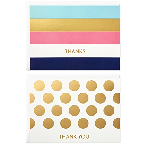 Hallmark Thank You Cards Assortment, Preppy Gold Foil Stripe Dot (50 Thank You Notes with Envelopes for Wedding, Bridal Shower, Baby Shower, Business, Graduation)