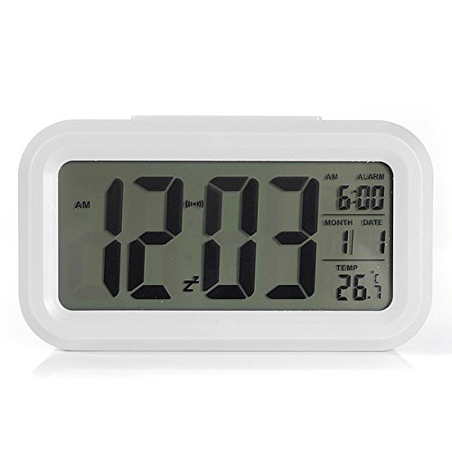 Shop24Hrs LED Digital LCD Alarm Clock Time Calendar Thermometer Snooze Backlight White Color (Wwe Rush Hour)
